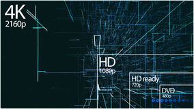 4K television resolution display with comparison of resolutions. 3D render Royalty Free Stock Photography