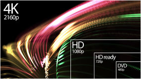 4K television resolution display with comparison of resolutions. 3D render Stock Photo