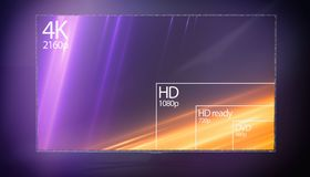 4K television resolution display with comparison of resolutions. 3D render. 4k resolution preview on tv stock illustration