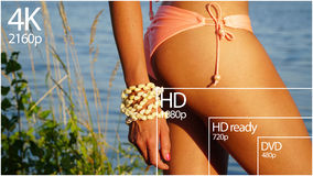 4K television resolution display with comparison of resolutions. 3D render Stock Photography