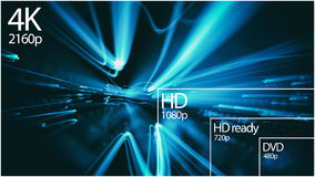 4K television resolution display with comparison of resolutions. 3D render Royalty Free Stock Images