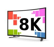 8K Television Set Curved Screen Royalty Free Stock Photos