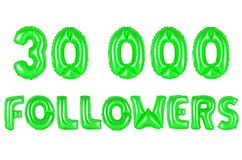 Thirty thousand followers, green color Stock Image