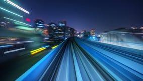 4K tijdtijdspanne die van automatische trein zich in Tokyo, Japan bewegen stock video