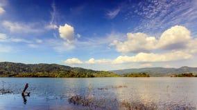 4K Time-lape, tropisk sjö under blå molnig himmel stock video