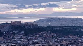 4k time lapse of acropolis and part of athens stock video footage