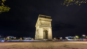 4K Time Lapse of Arc de Triomphe at night, Paris stock video footage