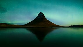 4K Time lapse of Aurora Borealis over Kirkjufell mountain, Iceland stock footage