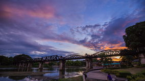 4k Time-lapse of Bridge River Kwai in Kanchanaburi, Thailand stock footage
