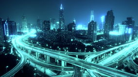 4k-Time lapse busy urban traffic with streaking lights trail at night,shanghai. stock video
