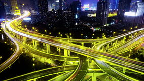 4k-Time lapse busy urban traffic with streaking lights trail at night,shanghai. 4k video,Timelapse of freeway busy city rush hour heavy traffic jam highway stock video