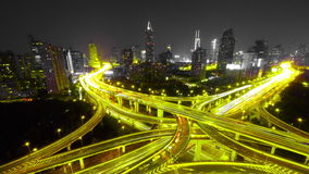4k-Time lapse busy urban traffic with streaking lights trail at night,shanghai. 4k video,Timelapse of freeway busy city rush hour heavy traffic jam highway stock footage