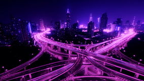 4k-Time lapse busy urban traffic with streaking lights trail at night,shanghai. 4k video,Timelapse of freeway busy city rush hour heavy traffic jam highway stock video footage