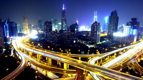 4k-Time lapse busy urban traffic with streaking lights trail at night,shanghai. stock video footage