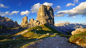 4K Time lapse of Cinque Torri mountain peak at sunset, Dolomites Alps, Italy stock footage
