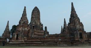 4K Time lapse Day to night the temple of Wat Chai Watthanaram in Ayutthaya stock video