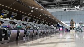 4K Time lapse of empty check-in counters at the airport terminal due to pandemic of covid-19
