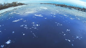 4k Time-lapse Ice drift on the river. In the spring the ice floats on the river. stock video