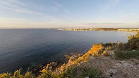 4k time lapse of marina and calm sea bay stock video
