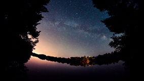 4K Time Lapse. Night Sky and Milky Way Galaxy. River ROS, Ukraine stock video footage