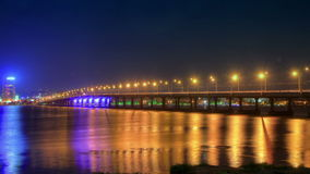 4K. time lapse night traffic on the bridge over the Dnieper River. 4096x2304. stock footage