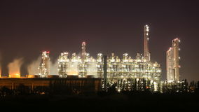 4k Time-lapse of Oil refinery industrial plant at night, Thailand stock video