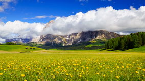 4K Time lapse of rolling clouds over Mt.Langkofel, Dolomites, Italy stock video footage