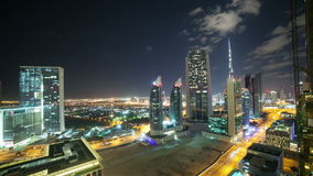 4k time lapse from the roof on night dubai city. Time lapse from the roof on night dubai city stock video footage