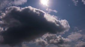 4K Time lapse solar halo on blue sky white clouds,corona sun,optical phenomenon,with lens flare and white clouds flowing fast in t. 4K Time lapse solar halo on stock video