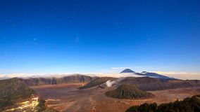 4K Time lapse of stars over Bromo volcano, East Java, Indonesia stock video footage