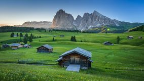 4K Time lapse of sunrise view from Seiser Alm Alpe di Siusi, Dolomites, Italy stock video footage