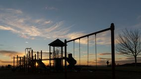 4k time lapse of sunset and moving clouds over playground in Altamont Park Happy Valley Oregon 4096x2304 uhd stock footage