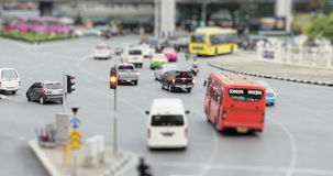 4K Time Lapse : Tilt shift group of people waiting for the bus at Bangkok, Thailand with ProRes 422HQ Blur content stock video