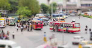4K Time Lapse : Tilt shift time lapse on road traffic at downtown Bangkok, Thailand with ProRes 422HQ Blur content. stock video footage