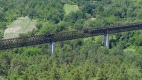 4K Time lapse Train Crossing Old Metal Iron Bridge