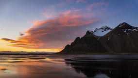 4K Time lapse of Vestrahorn mountain at sunset, Iceland. Europe stock footage