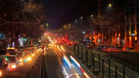 4K Time lapse video of cars with a long exposure at night in Yerevan on street Mashtots. 4K Time lapse video of cars with a long exposure at night in Yerevan on stock video