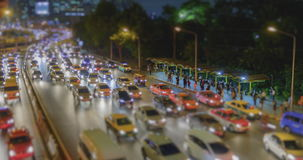 4K Time Lapse 4096x2160 : Tilt shift time lapse of highway traffic downtown Bangkok, Thailand with ProRes 422HQ Blur content. stock footage
