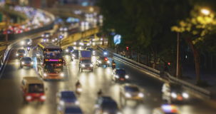 4K Time Lapse 4096x2160 : Tilt shift time lapse of highway traffic downtown Bangkok, Thailand with ProRes 422HQ Blur content. stock video
