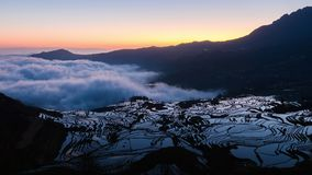 4K Time lapse of Yuanyang rice terrace at sunrise, Yunnan, China stock footage