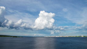 4k Time lapses of clouds on the Kama River, Kama Reservoir, view of the city of Naberezhnye Chelny stock video footage