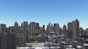 4k timelapse纽约从天到夜,对日落,城市天线的日出  影视素材