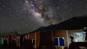 4k, timelapse, The Milky Way galaxy moving over mountains at Pangong Lake in Ladakh, North India. Zoom-Out stock video