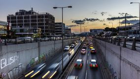 4K Timelapse της κυκλοφορίας οδών τη νύχτα απόθεμα βίντεο