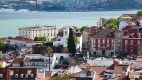4K timelapse της στέγης της Λισσαβώνας από το Σάο Vicente de για μια εκκλησία στην Πορτογαλία - UHD απόθεμα βίντεο