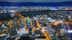 4K Timelapse города на ноче, Японии Осака видеоматериал