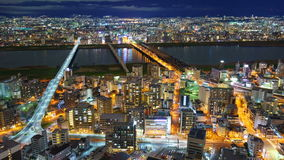 4K Timelapse города на ноче, Японии Осака акции видеоматериалы
