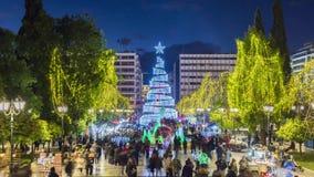 4K Timelapse рождественской елки в Афина акции видеоматериалы