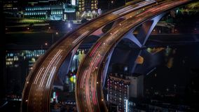 4K Timelapse aerial of highway bridge with busy traffic in nigth Taipei city. 4K Timelapse aerial view of highway bridge with busy traffic in nigth Taipei city stock footage