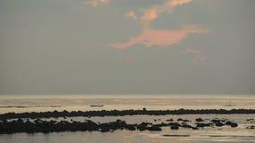 4k Timelapse: A atmosfera do beira-mar no primeiro claro do amanhecer antes do nascer do sol Nuvens moventes r?pidas vídeos de arquivo